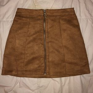 Brown suede skirt with zip up front
